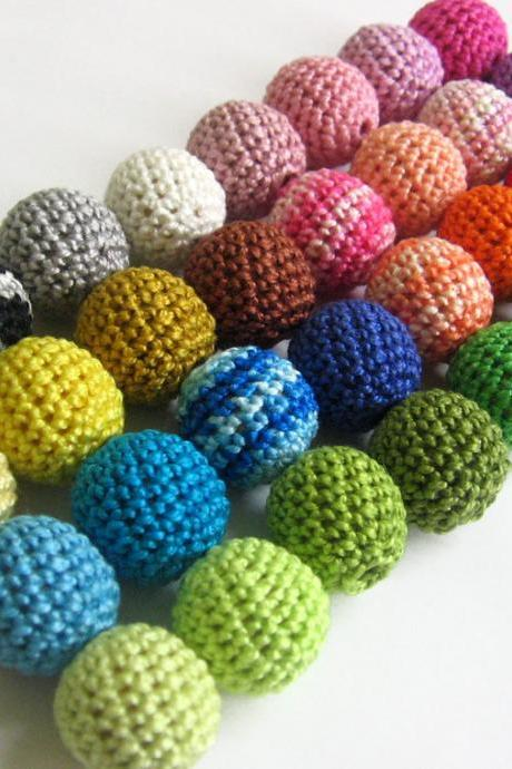Crocheted beads 20mm 100pc handmade round choose Your colors