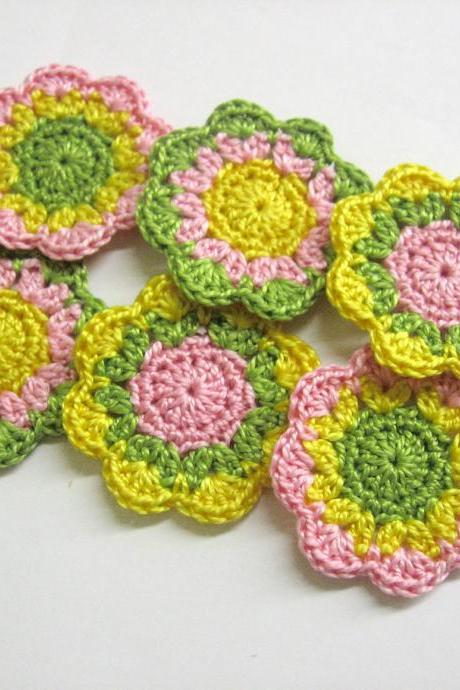 Handmade cotton flower motifs appliques in green yellow pink set of six 2 inches