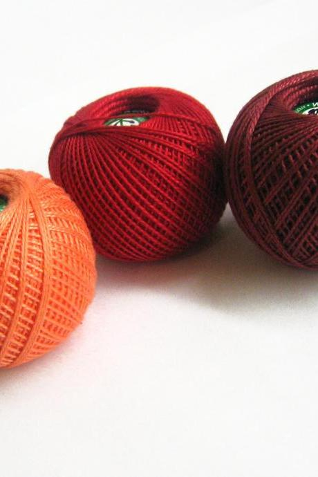 Cotton crochet thread, 3 balls, red and orange mix, 25 g per ball