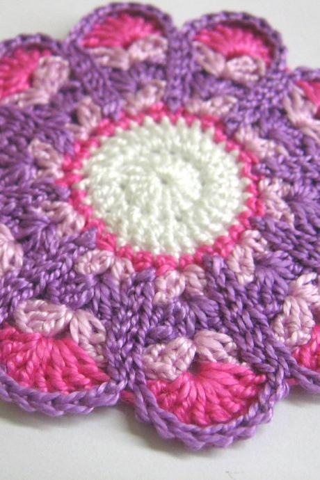 Handmade crocheted flower motif applique pink and purple 3,5 inches wide