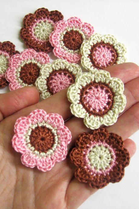 Handmade cotton flower motifs appliques in brown pink cream 1,4 inches set of nine