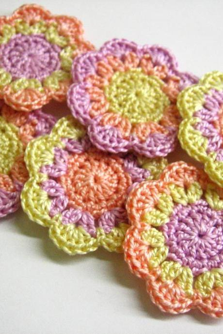 Handmade cotton flower appliques motifs in light yellow, lavender and peach pink 2 inches wide set of 6