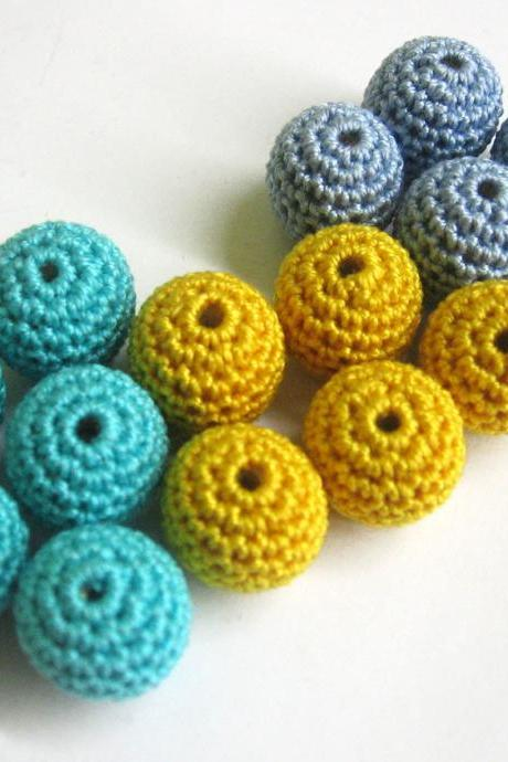 Crocheted beads 15 mm - round handmade beads in blue and yellow set of 15