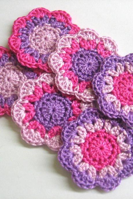 Handmade cotton flower motifs appliques in pink and purple, 2 inches, set of six
