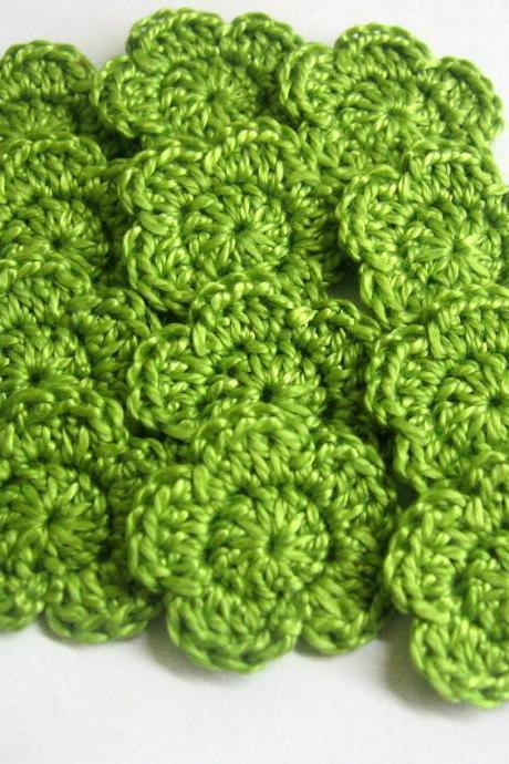 Handmade crocheted cotton tiny flower appliques set of twelve green one inch