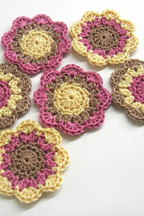 Handmade cotton flower motifs appliques in brown, yellow and violet, set of six, 2 inches