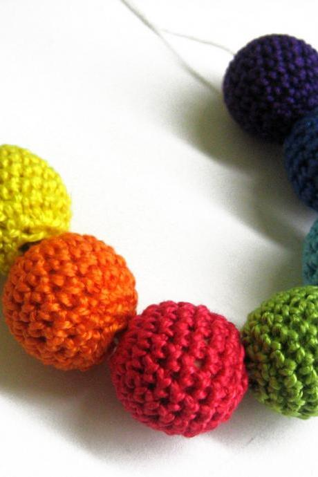 Crocheted beads 20 mm handmade round rainbow set of 7