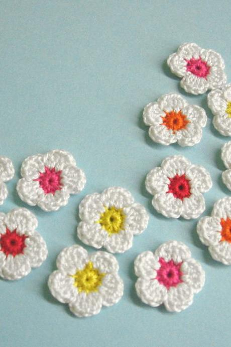 Handmade crocheted cotton tiny flower appliques set of twelve white 0.8 inches