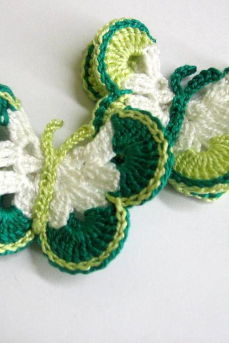 Handmade Crocheted Butterfly Appliques set of 2 in jade, light green and white