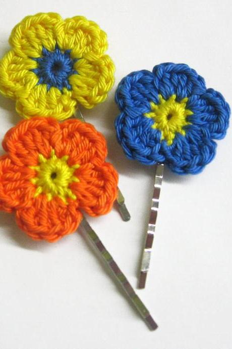 Crocheted bobby pins colorful flowers in blue, yellow and orange set of 3