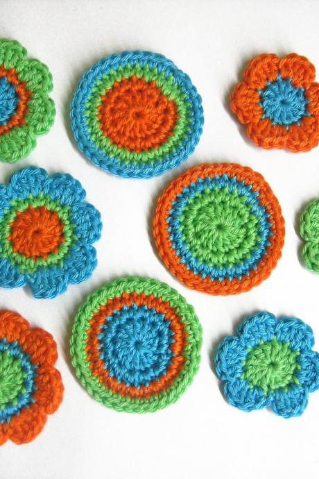 Handmade crocheted cotton appliques flowers and circles 9pc light turquoise orange and light green