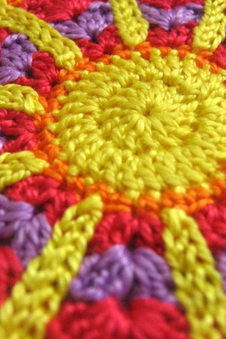 Handmade crocheted flower motif applique red yellow purple orange 3,5 inches wide