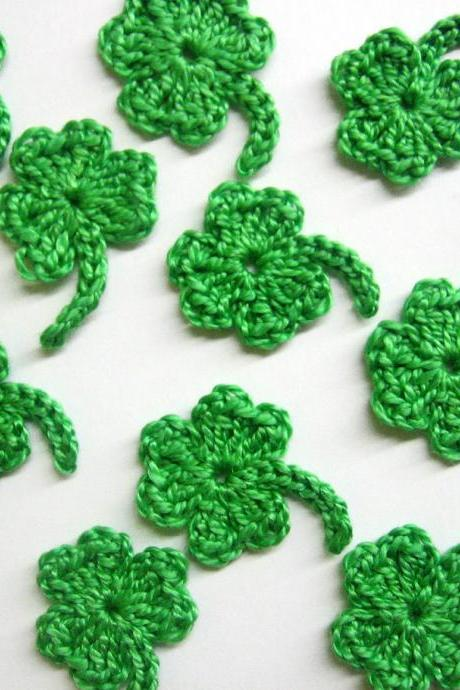 Handmade crocheted shamrock appliques lime green set of 12 1 inch