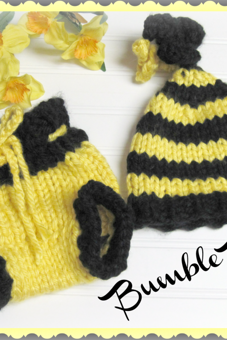 Bumble Bee Hat and Diaper Cover Patterns for Newborn Knitted