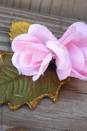 Flower Hair Accessory - Bobby Pin Hair Piece with Holly Leaves and Pink Roses - Fabric Flower Hair Clip