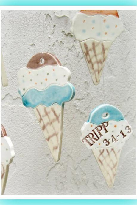 Personalized Wind Chime Ice Cream Cone Stoneware Clay