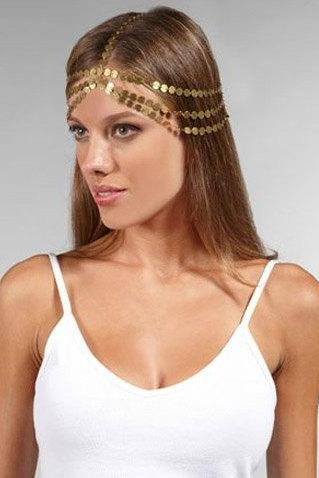 Rouelle VENUS Headpiece: 7 Strand Gold Coin, head piece, hair chain, hair piece, head chain
