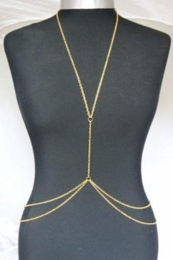 Rouelle LAYLA 18 Karat Gold Bodypiece: body piece, body chain, belly chain, gold body chain, chain vest, chain harness, body harness