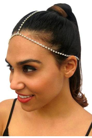Rouelle CALYPSO Headpiece: Three Strand Delicate Rhinestone Silver Headpiece, head piece, hair chain, hair piece, head chain