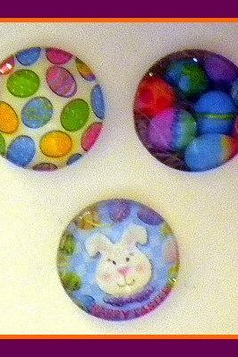 Magnets - Easter - Set of 3 --1 Inch Domed Glass Circles