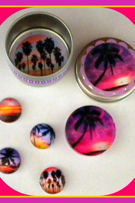 Magnets - Tropical Beach Sunsets with Palm Trees - Magnet Set in Gift Tin - 5 magnets