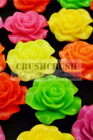 13pcs 20mm Hot Color Roses FLOWER Blossom FlatBack Cabochons F1139