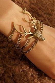 Deer Head Vintage Bracelet Retro Full Diamante Mysterious