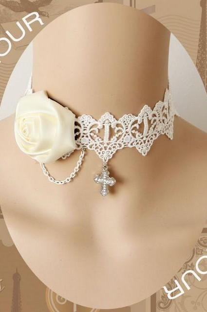 Handmade lace necklace white wedding dress accessories bride and bridesmaids necklace