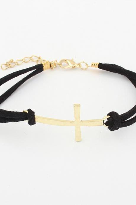 Simple Women Bracelet Hot Sale Bilayer Leather Embellished Cross