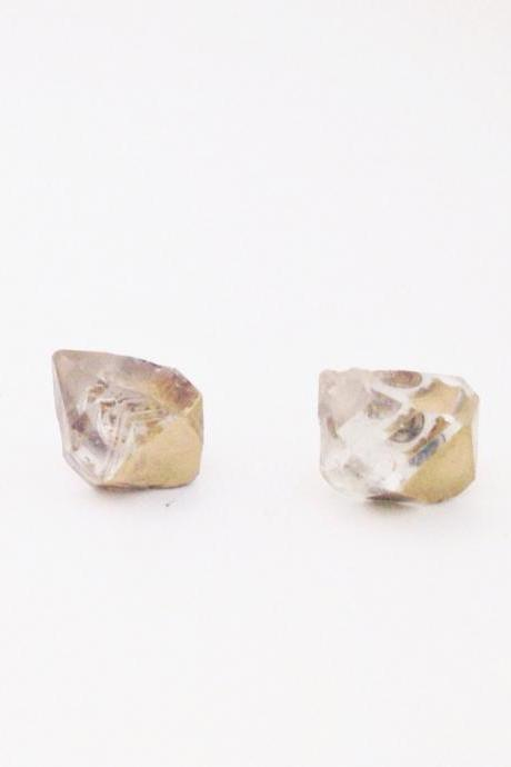 Gold Dipped Herkimer Diamond Earrings
