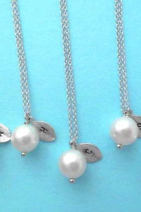 Set of 5, White Pearl, Initial Leaf, Personalized, Necklace