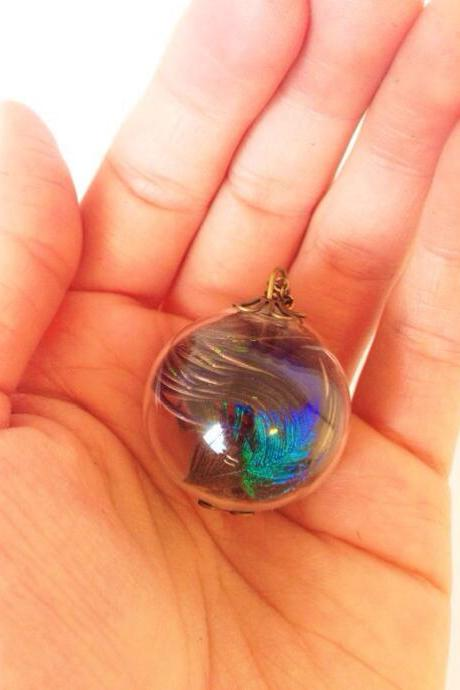 Peacock feather medium glass orb necklace