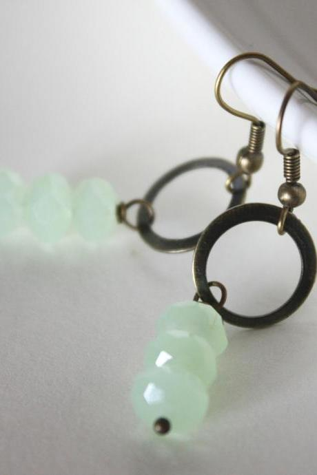 ice mint green - earrings - crystal rondelles light green antique bronze simple elegant