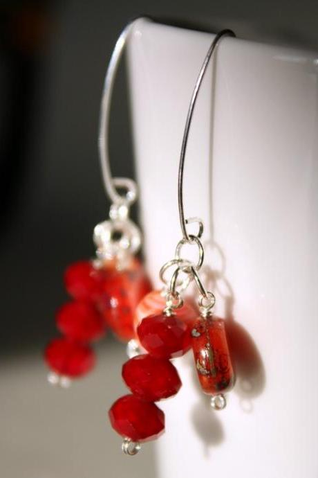 tangerine tango earrings - Salad fruit -orange red tone - glass vintage beads - cocktail party