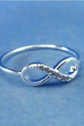 Infinity Ring, Cubic Zirconia, Silver, RIng