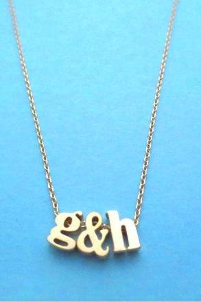 Lower initial necklace, Friendship necklace, Lowercase letter