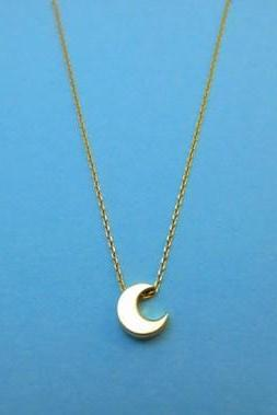 Crescent, Cute, Moon, Goldfilled Chain, Necklace
