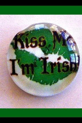 Magnet - Kiss Me I'm Irish - 1 Inch Glass Circle - St. Patrick's Day