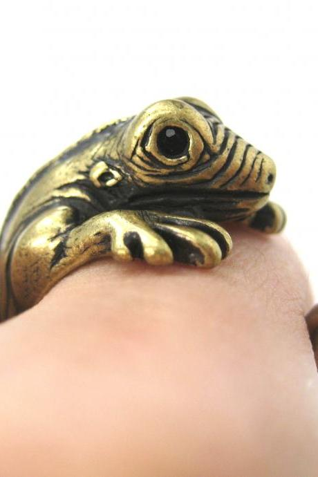 Iguana Chameleon Animal Wrap Ring in Brass Sizes 5 - 9 US Realistic and Cute!