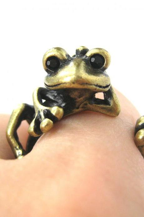 Realistic Frog Animal Wrap Around Hug Ring in Brass - Size 4 to 9 Available