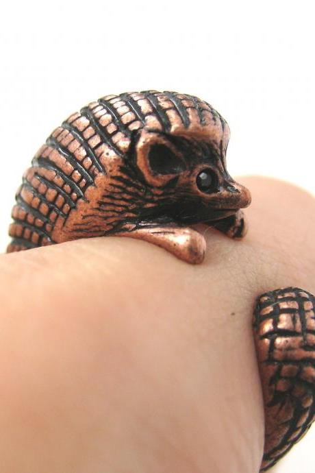 Hedgehog Animal Wrap Ring in Copper Sizes 4 to 9 US Realistic and Cute!