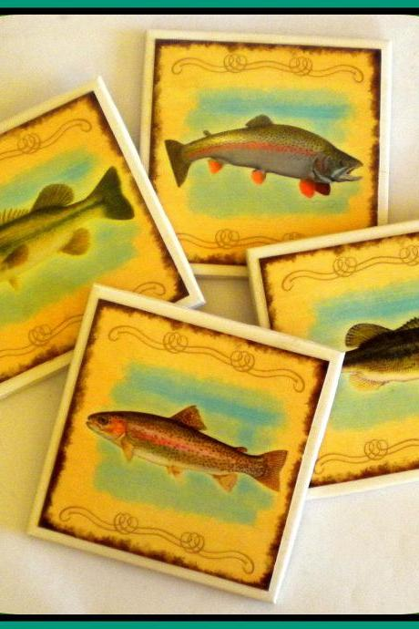 Coasters - Ceramic Tile - Set of 4 - Fish - Trout and Bass