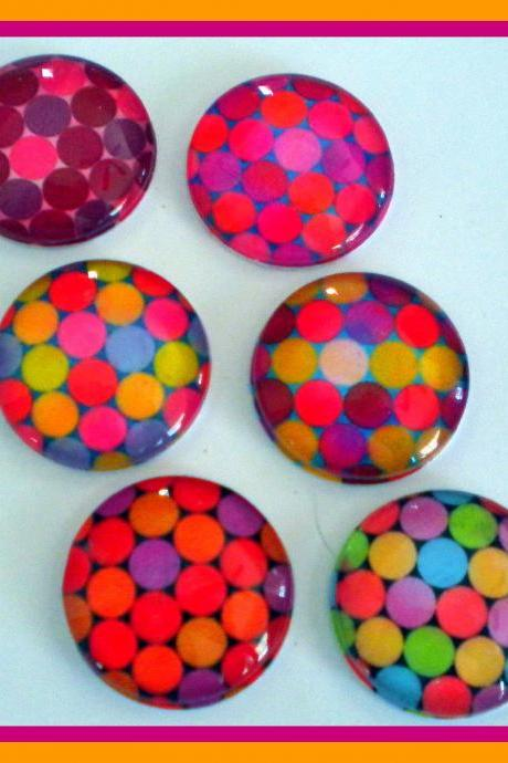 Magnets - Set of 6 - Geometric Designs - 1 Inch Domed Glass Circles