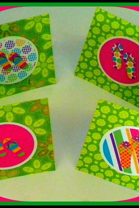 Notecards - Mini Flip Flop Notecards - Set of 4 - Hot Colors - Stocking Stuffer