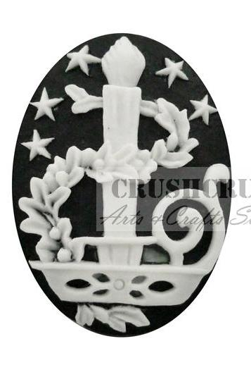 3pcs Christmas Candle Advent wreath Cameo Cabochon Flat Back F1145