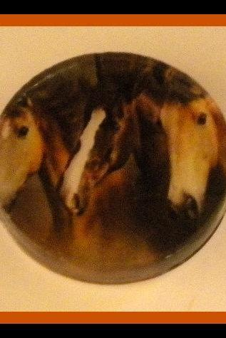 Magnet - 3 Horses Magnet - 2-inch Glass Circle