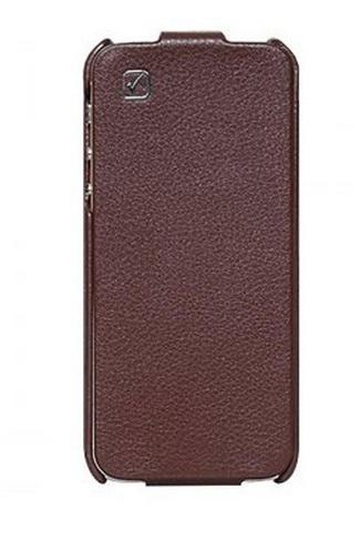 iPhone 5 Real Leather case Cool HOCO Simple Flip Style Vertical Cover (Brown)