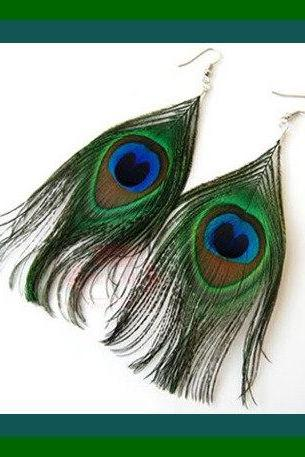 Earrings - Peacock Feather - Green Pierced