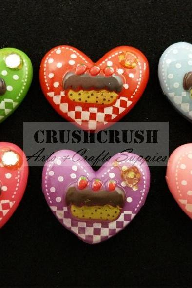 13pcs ice Cream CUPCAKE Heart Shape Dot Cabochons Flat back F1152
