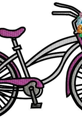 Bicycle With Flower basket Machine Embroidery Pattern